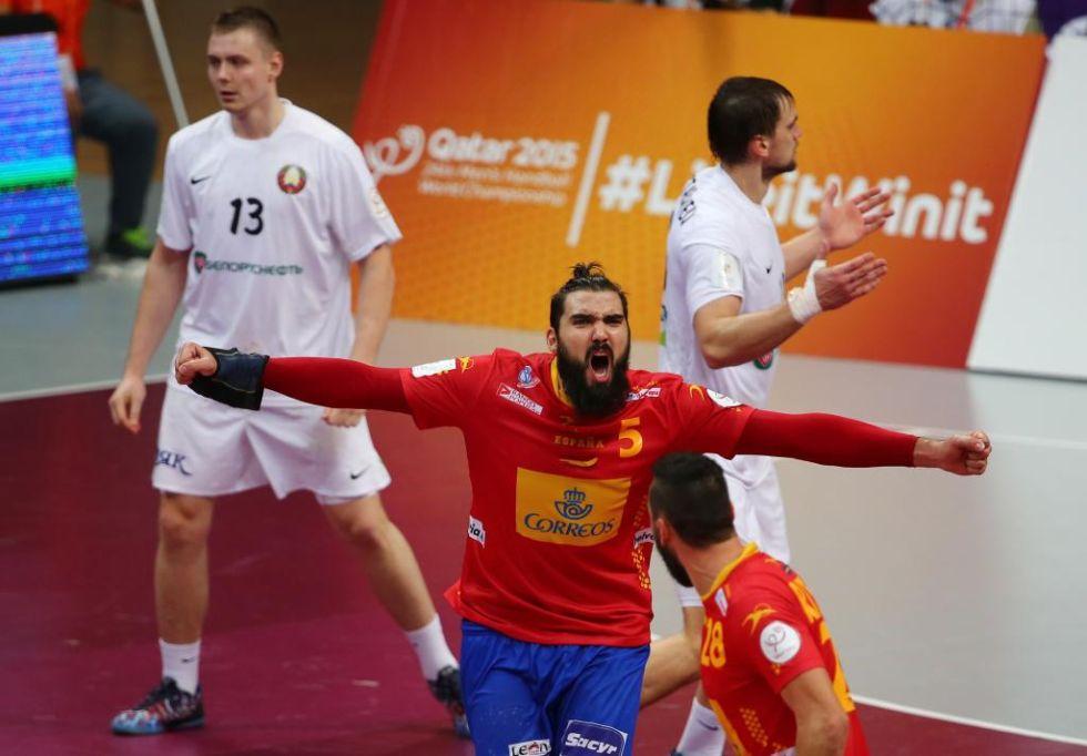 Maqueda celebra un importante gol de España en el debut contra Bielorrusia.