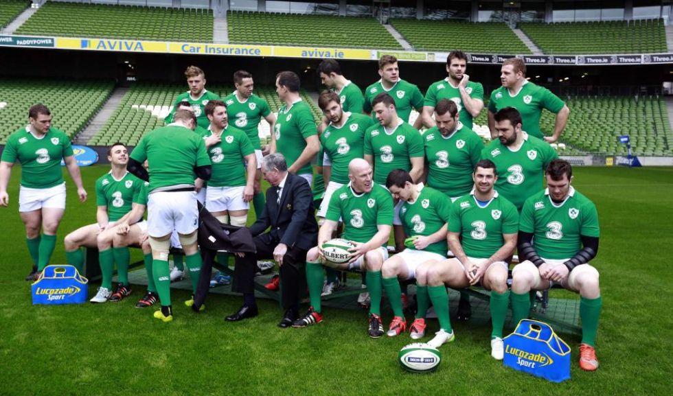 La selecci�n de Irlanda se prepara para una foto oficial en el Aviva Stadium de Dublin