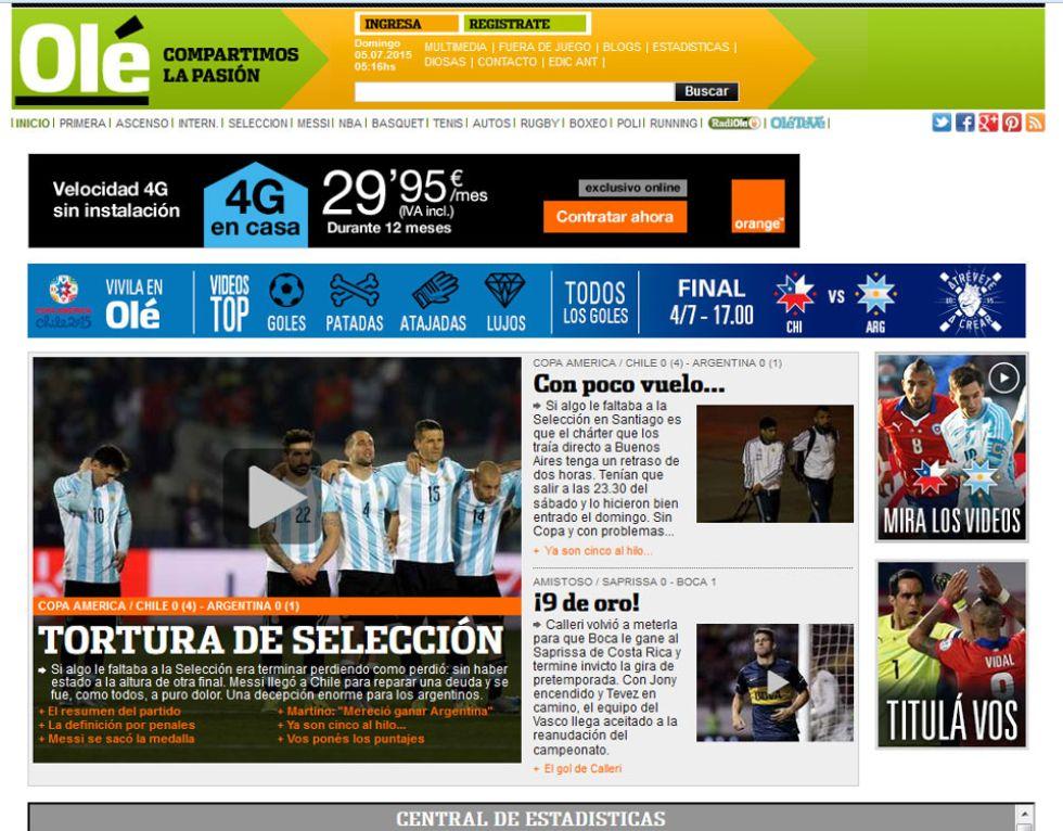 """Olé afirma que """"Argentina no estuvo a la altura de la final"""" y Messi se fue """"a puro dolor"""". El diario habla de """"una decepción enorme para los argentinos""""."""