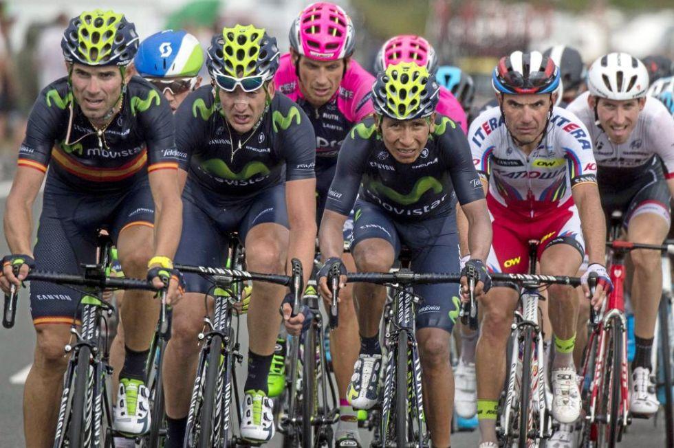 Tres de los ciclistas m�s perjudicados en la etapa de hoy. Perdieron, al igual que Nibali, casi minuto y medio con Froome y Contador.