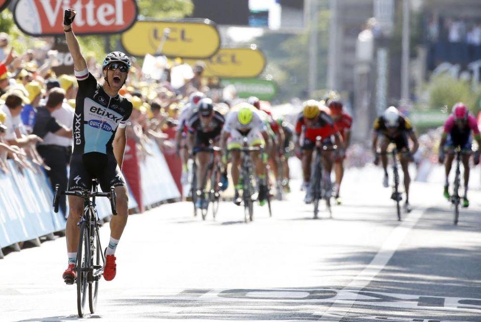 Stybar celebrando su victoria en la sexta etapa