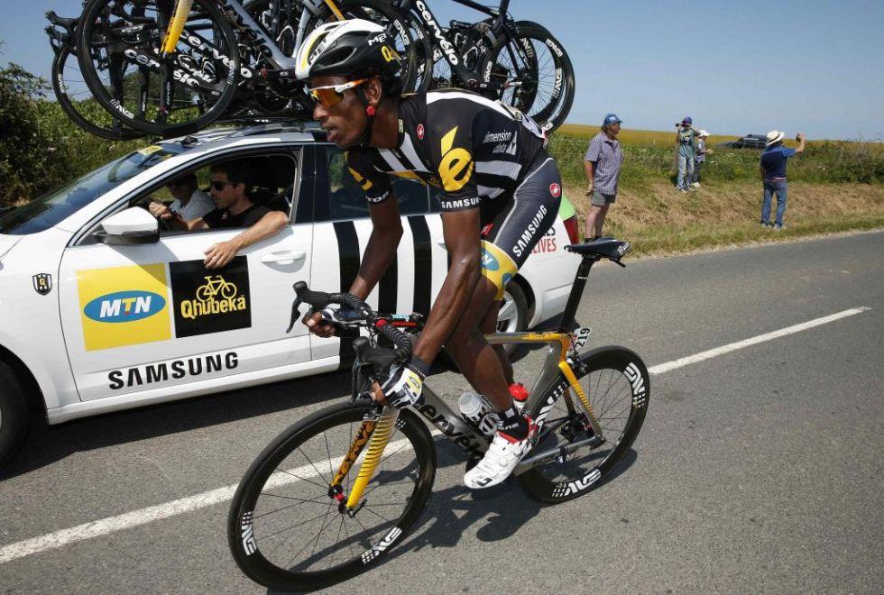 Teklehaimano, primer ciclista africano en auparse a lo más alto de una clasificación del Tour.