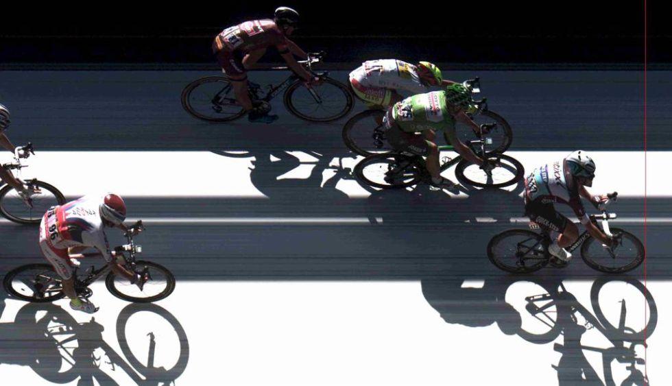 La foto finish del sprint de hoy. Cavendish venci� por delante de Greipel y Sagan.