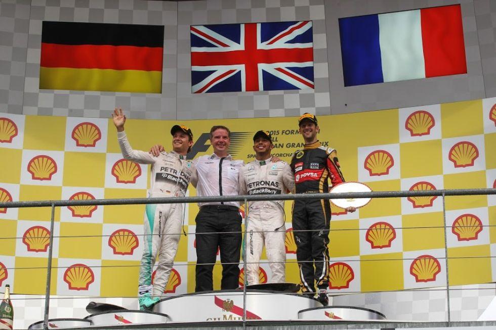 El podio de Bélgica, con Rosberg, Hamilton y Grosjean