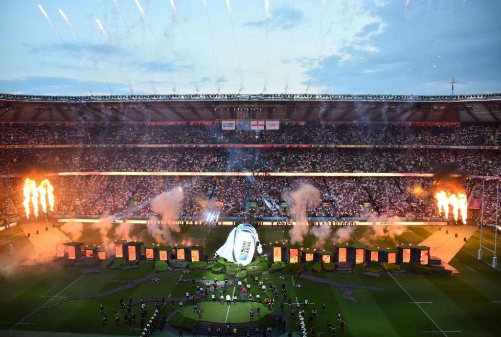 La 'catedral del rugby europeo', como se conoce a Twickenham, vibró en esta ceremonia de inauguración.
