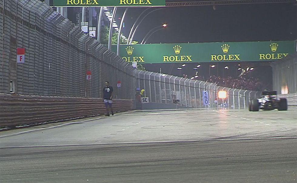 Un espont�neo se pase� tranquilamente por la pista sin que nadie lo detuviera.