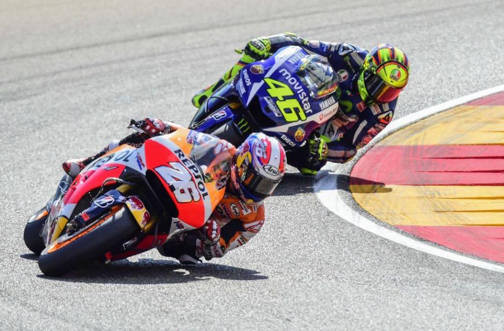 Dani Pedrosa y Valentino Rossi tuvieron un intenso y bonito duelo.