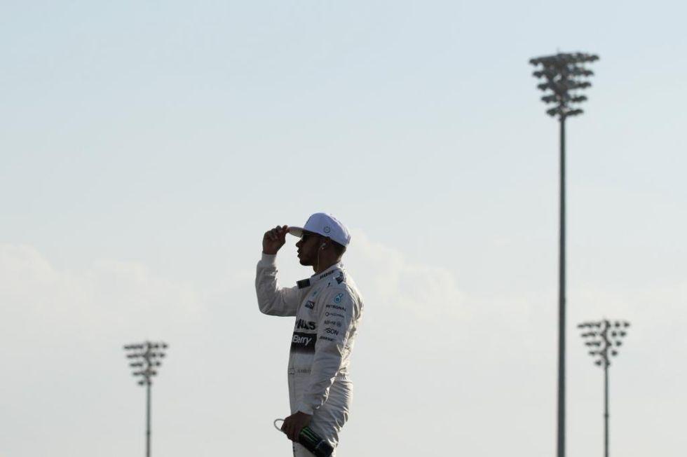 Hamilton, concentrado antes de la carrera.