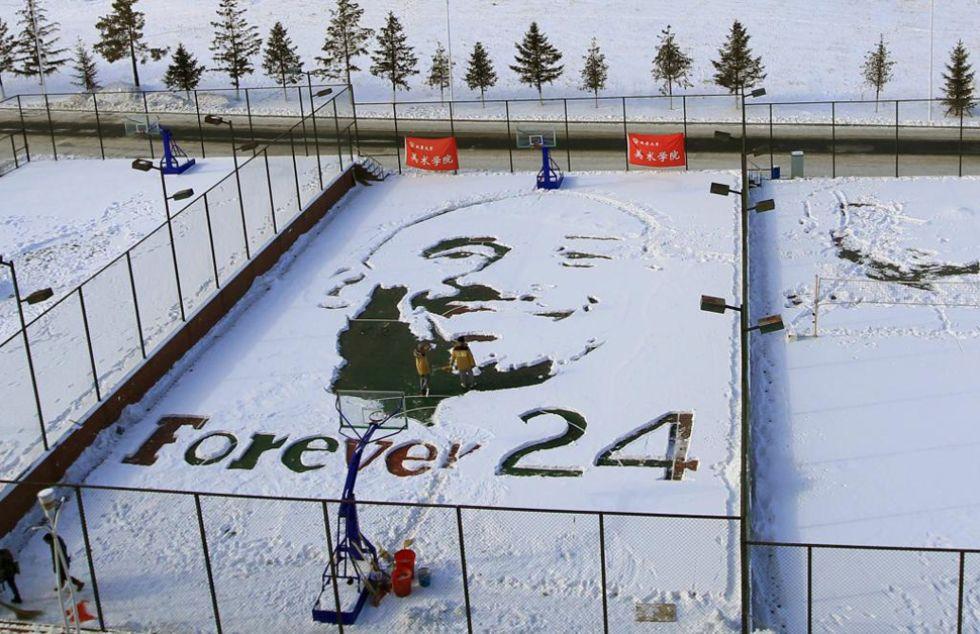 Pista nevada convertida en Kobe Bryant