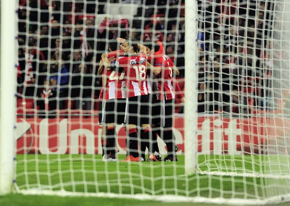 Celebración de uno de los goles.