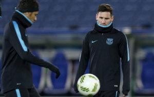 Messi y Neymar, en el entrenamiento previo a la final del Mundial de...