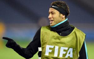 Neymar, durante el entrenamiento previo a la final.