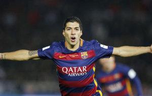 Luis Suárez festeja un gol.