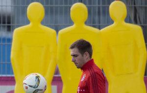 Philipp Lahm, durante un entrenamiento con el Bayern de Múnich.