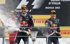 Webber, Vettel y Alonso, en el podio del GP de Italia 2013