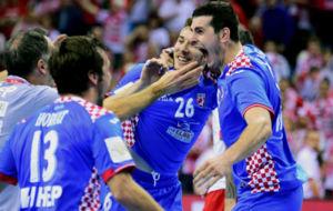 Los jugadores de Croacia, celebrando su clasificación para las...