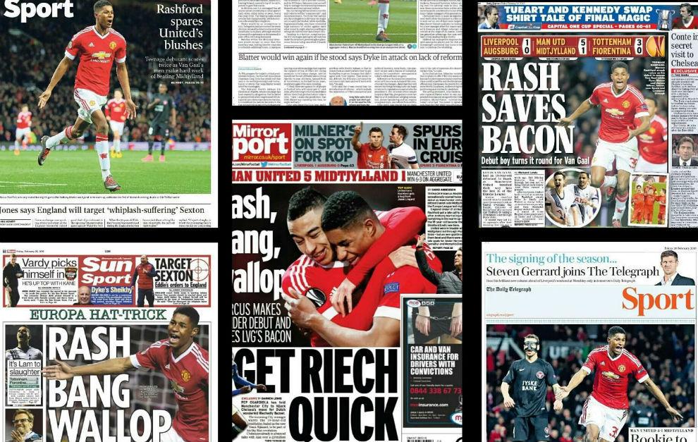 Algunas portadas de la prensa inglesa dedicadas a Rashford.