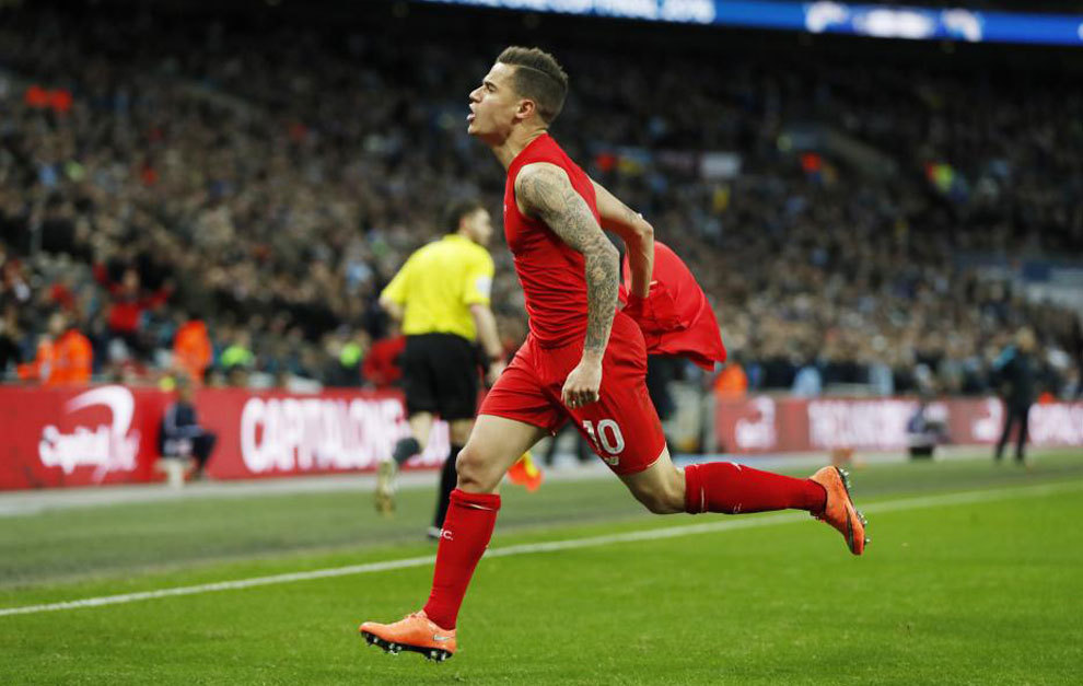 Coutinho celebra su gol al City.