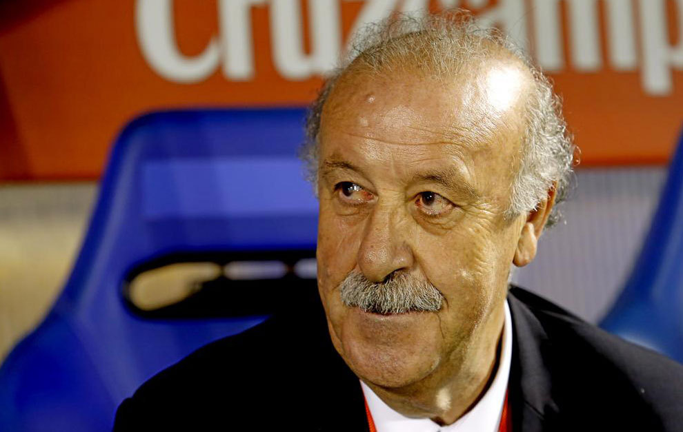 Vicente del Bosque, en un partido de la selección española.