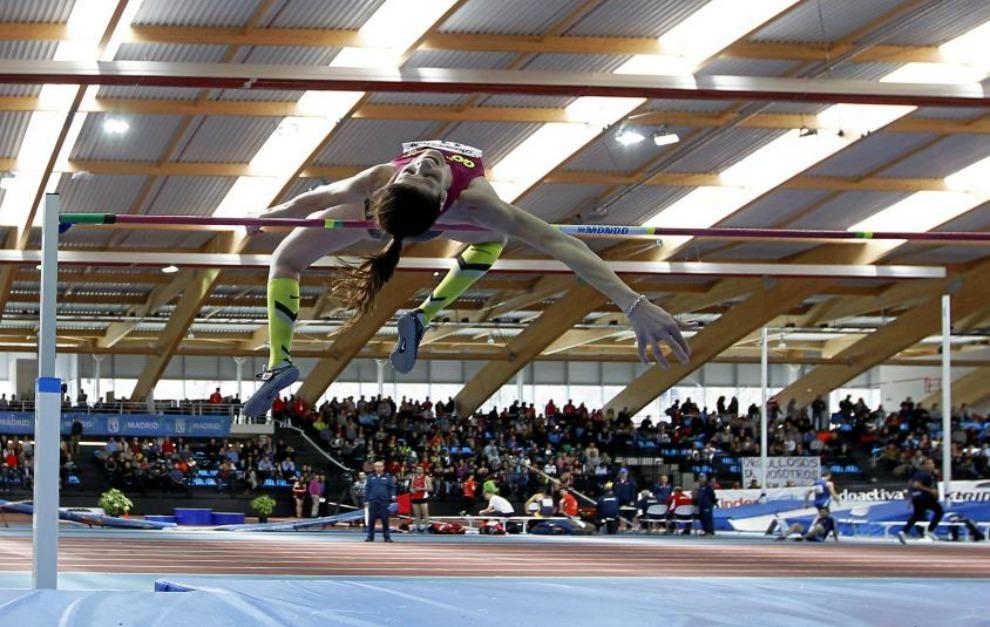 Ruth Beitia, en el Campeonato de España indoor en Gallur.