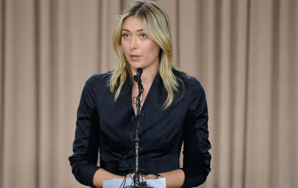 Sharapova, durante el anuncio de su positivo
