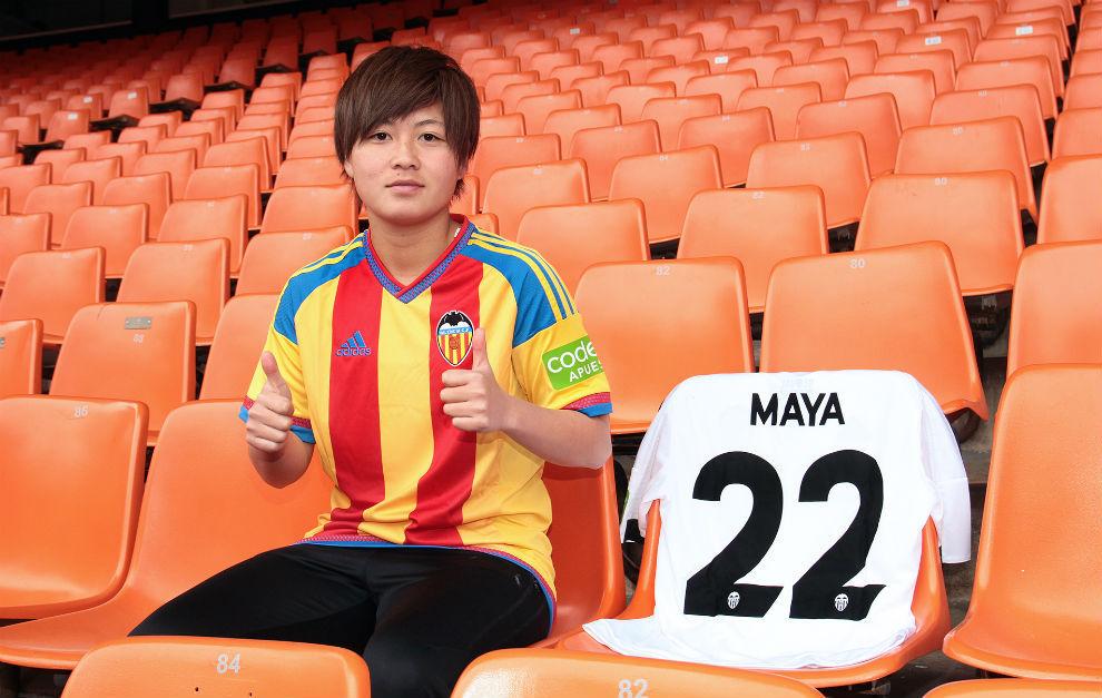 Maya Yamamoto en su presentación en Mestalla como jugadora del...