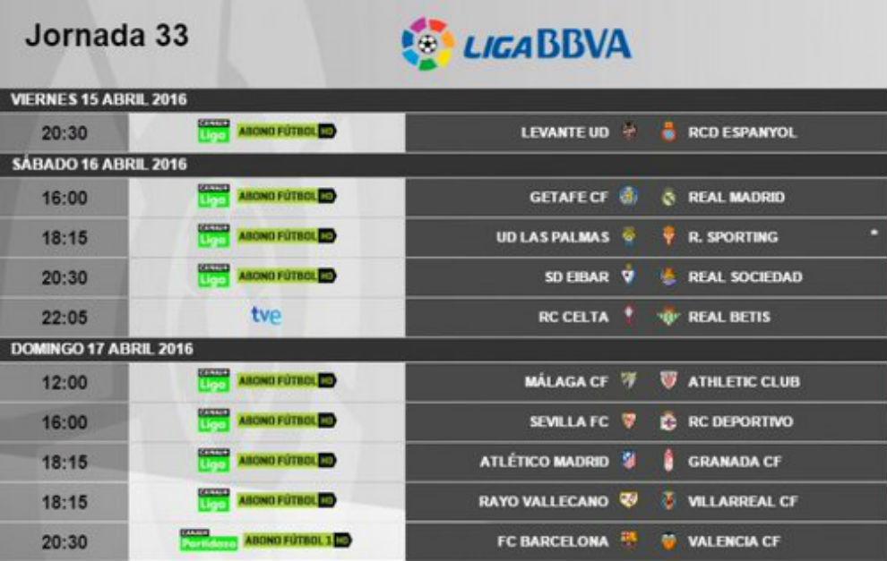 Calendario De Liga Bbva 15 16.Calendario Liga Bbva Horarios