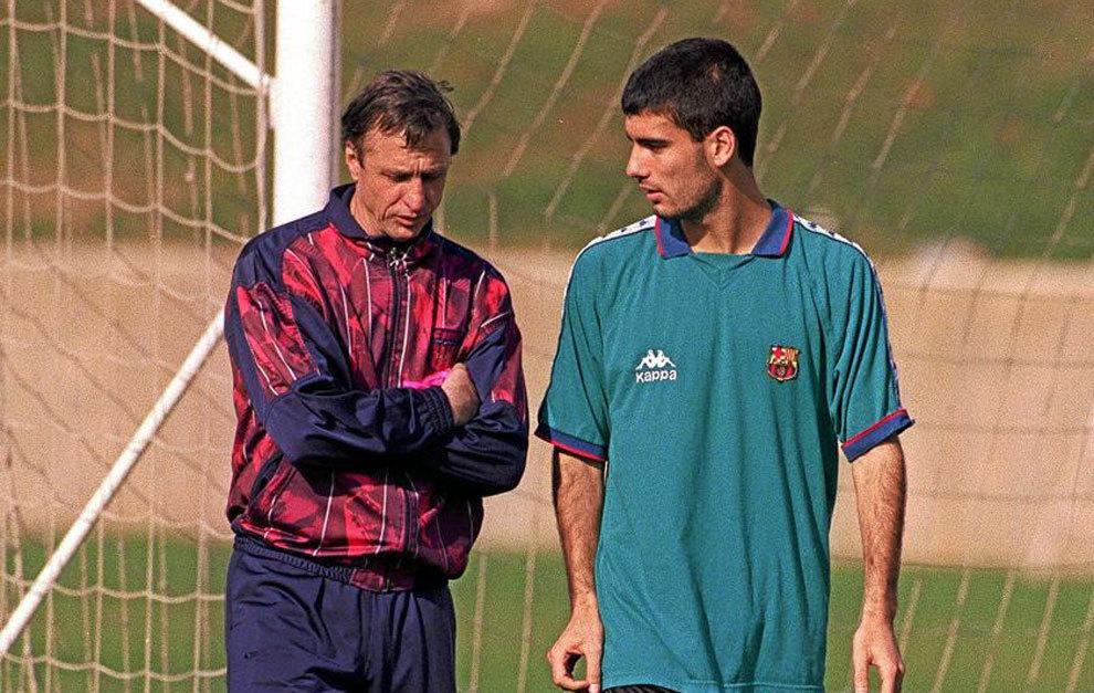 Guardiola y Cruyff, en su etapa en el Barcelona.