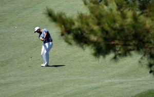 Scott Piercy, durante la ronda de prácticas en el Augusta National.