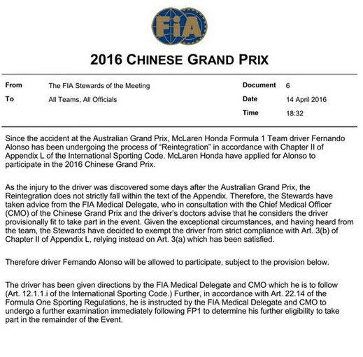 Comunicado oficial de la FIA sobre la decisión de Alonso