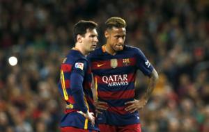 Messi y Neymar, en el partido contra el Valencia.