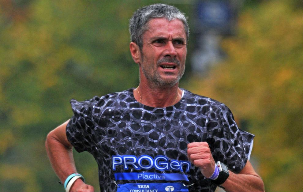 Martín Fiz, durante el maratón de Nueva York.