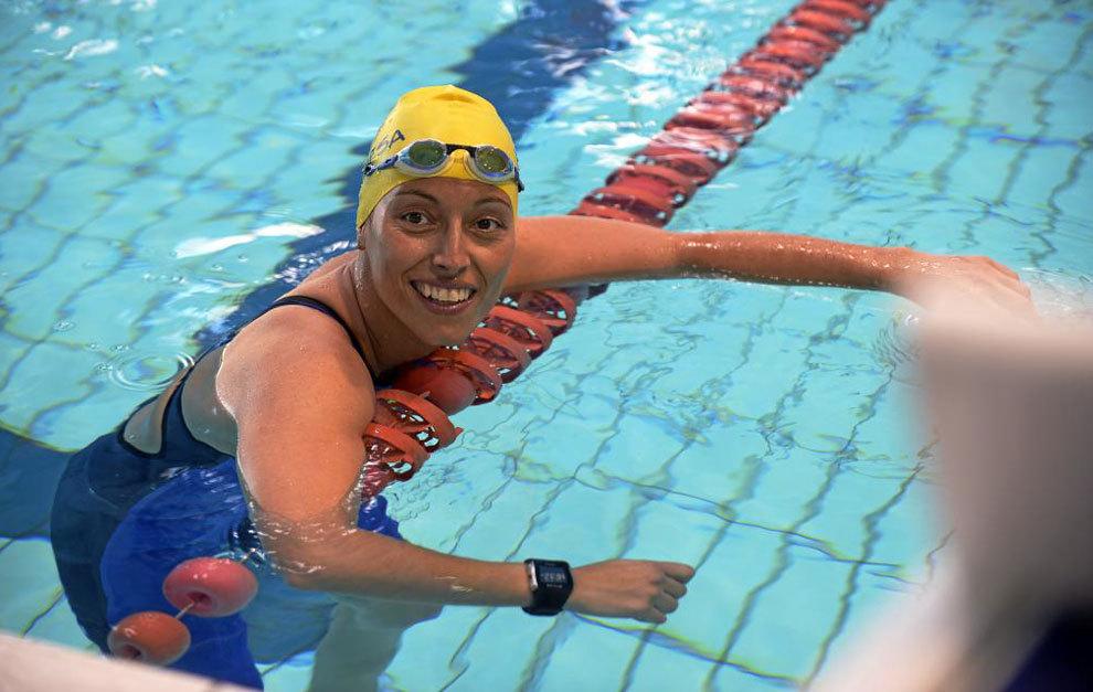 Teresa Perales en la piscina del CAR de Sierra Nevada