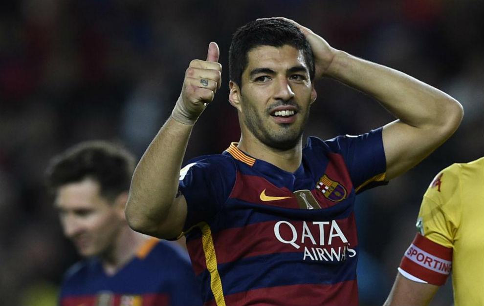 Luis Suárez celebra una acción durante un encuentro.