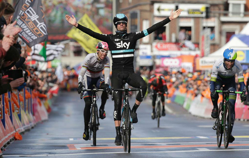 Netherland's Wouter Poels reacts as he celebrates winning the 102st...