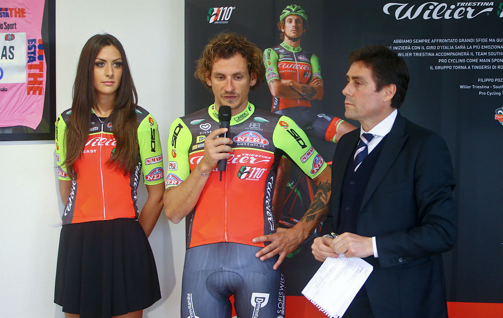 Pippo Pozzato, con los nuevos colores del equipo Wilier-Southeast,...