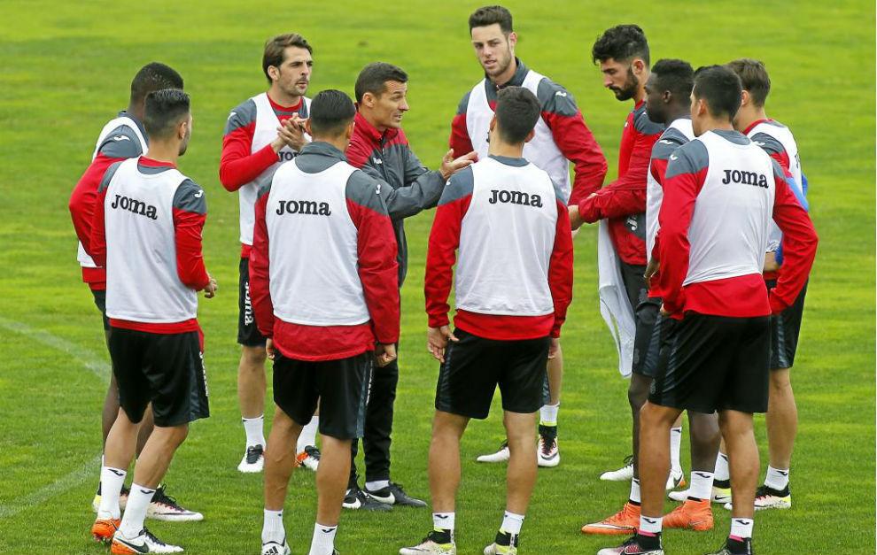La plantilla del Espanyol durante un entrenamiento de esta semana.