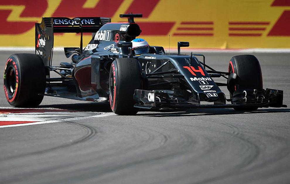Fernando Alonso, durante la carrera de Sochi