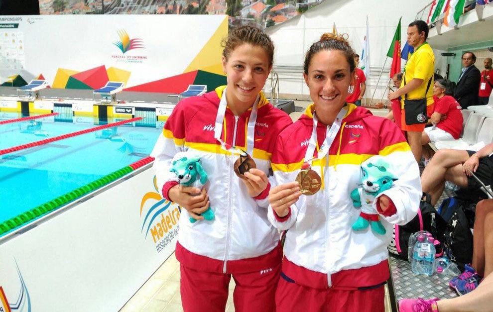 Nuria Marqués y Sarai Gascón con su bronce y oro, respectivamente,...
