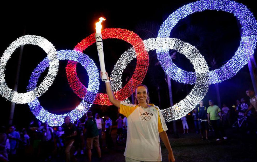 La llama olímpica, a su llegada a Brasil.
