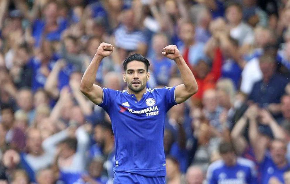 Falcao celebra su único gol anotado con el Chelsea.