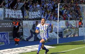 Sergio Aguza celebra el segundo gol de la Ponferradina, a la postre el...
