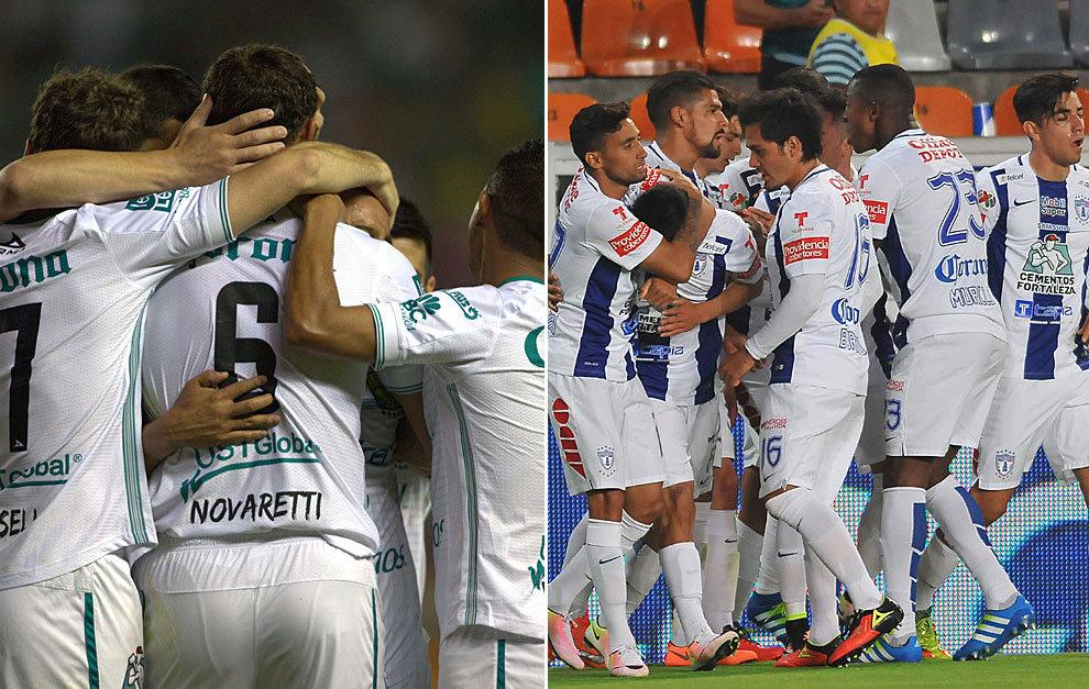 Los jugadores del León y del Pachuca celebran.