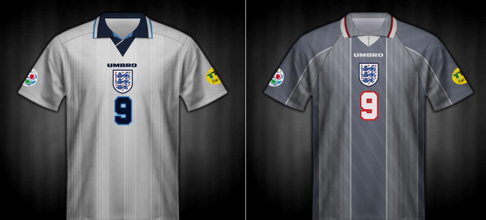 Camisetas que lució Inglaterra en la Eurocopa 1996