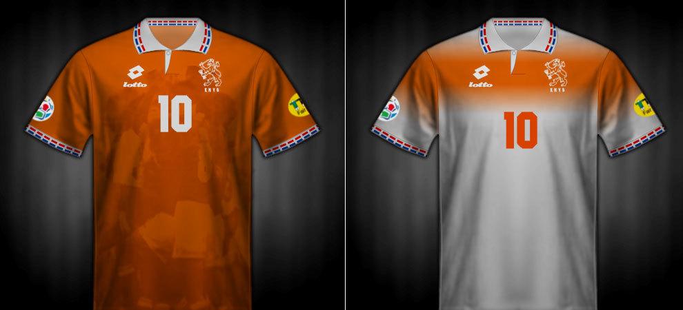 Camisetas que lució Holanda en la Eurocopa 1996