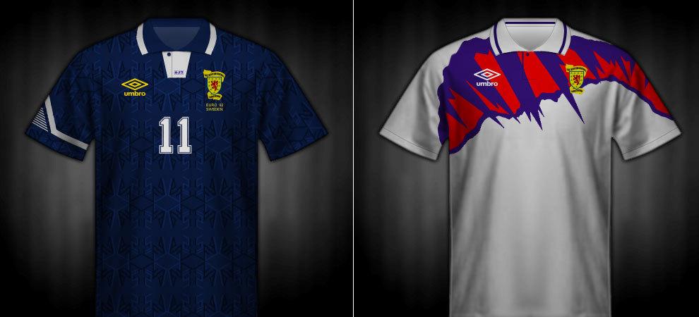 Camisetas que lució Escocia en la Eurocopa 1992