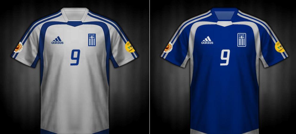 Camisetas que lució Grecia en la Eurocopa 2004