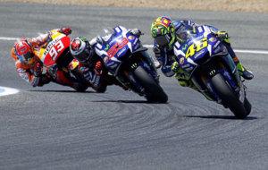M�rquez, Lorenzo y Rossi durante el pasado GP de Espa�a en Jerez.