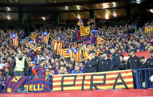 Aficionados del Barcelona en la final de Copa.