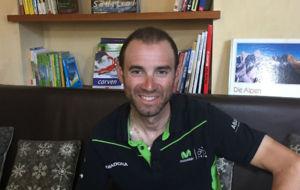 Alejandro Valverde, en su hotel durante la jornada de descanso de este...